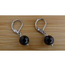 Fekete Turmalin (Sörl) ásvány fülbevaló 8 mm