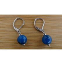 Kék Achát ásvány fülbevaló 8 mm