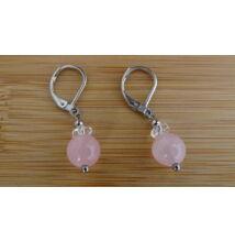 Extra Rózsakvarc ásvány fülbevaló 8 mm