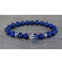 Szűz csillagjegy Lápisz Lazuli ásvány karkötő acél medállal 8 mm