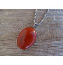 Vörös Jáspis foglalt ovál ásvány medál