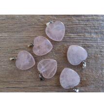 Rózsakvarc szív ásvány medál