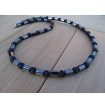 Férfi ásvány nyaklánc Hematit hasáb - Lávakő 6 mm