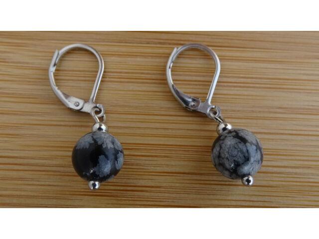 Hópehely Obszidián ásvány fülbevaló 8 mm