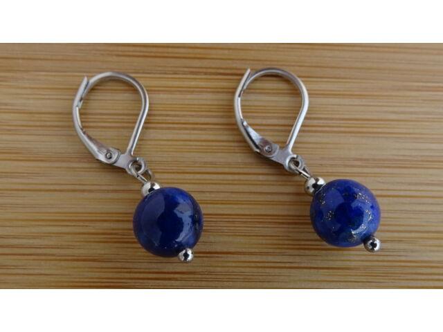 Lápisz Lazuli (Lazurit) ásvány fülbevaló 8 mm