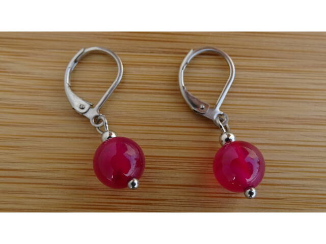 Pink Achát ásvány fülbevaló 8 mm