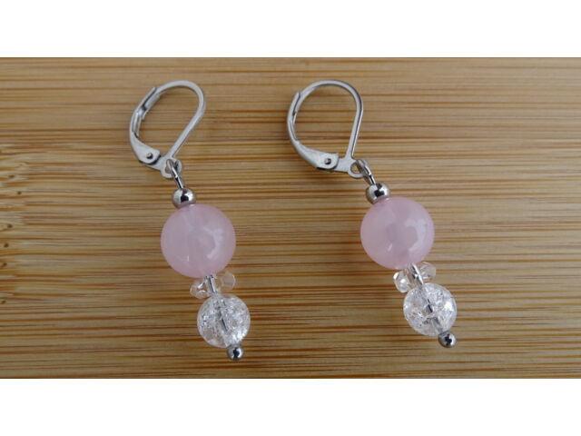 Rózsakavrc - repesztett Hegyikristály ásvány fülbevaló 8 - 6 mm