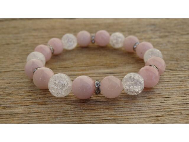 Rózsakvarc extra - repesztett Hegyikristály ásvány karkötő strasszal 10 mm