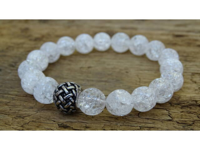 Repesztett Hegyikristály ásvány karkötő acél köztessel 10 mm