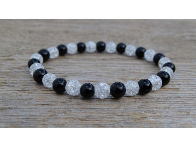 Ónix - repesztett Hegyikristály ásvány karkötő 6 mm