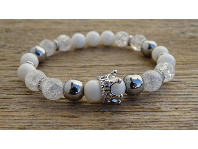 Kagyló - repesztett Hegyikristály - ezüst Hematit ásvány karkötő ezüst színű koronával 8 mm