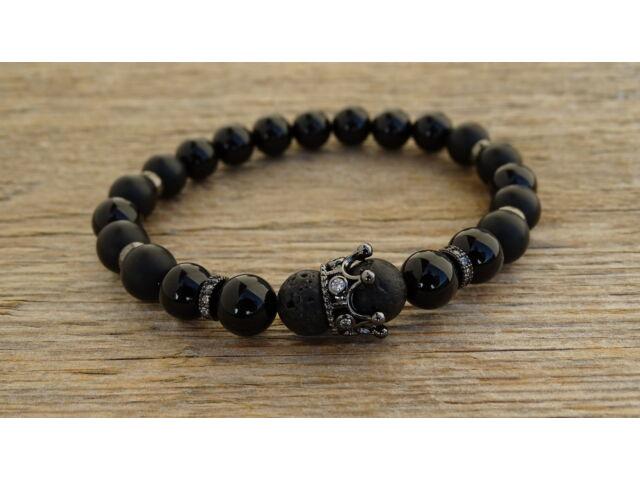 Lávakő - Ónix ásvány karkötő fekete színű koronával 8 mm