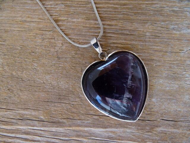 Ametiszt foglalt szív ásvány medál