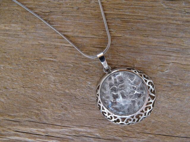 Hegyikristály foglalt kerek ásvány medál
