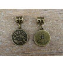 Halak csillagjegy antik bronz fűzhető medál