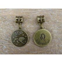 Oroszlán csillagjegy antik bronz fűzhető medál