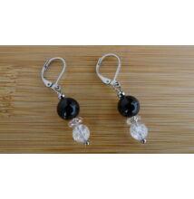 Ónix - repesztett Hegyikristály ásvány fülbevaló 8 - 6 mm