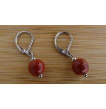 Vörös Jáspis ásvány fülbevaló 8 mm