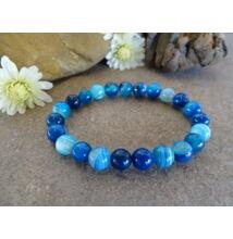 Kék Achát ásvány karkötő 8 mm