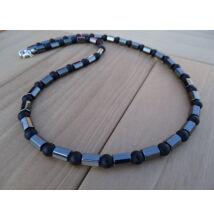 Férfi ásvány nyaklánc Hematit hasáb - matt Ónix 6 mm
