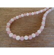 Rózsakvarc extra minőségű - repesztett Hegyikristály ásvány nyaklánc 8 mm
