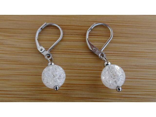 Repesztett Hegyikristály ásvány fülbevaló 8 mm