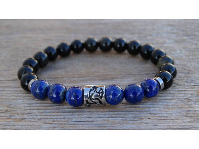 Nyilas csillagjegy Lápisz Lazuli - Selyem Obszidián 8 mm ásvány karkötő acél köztesekkel